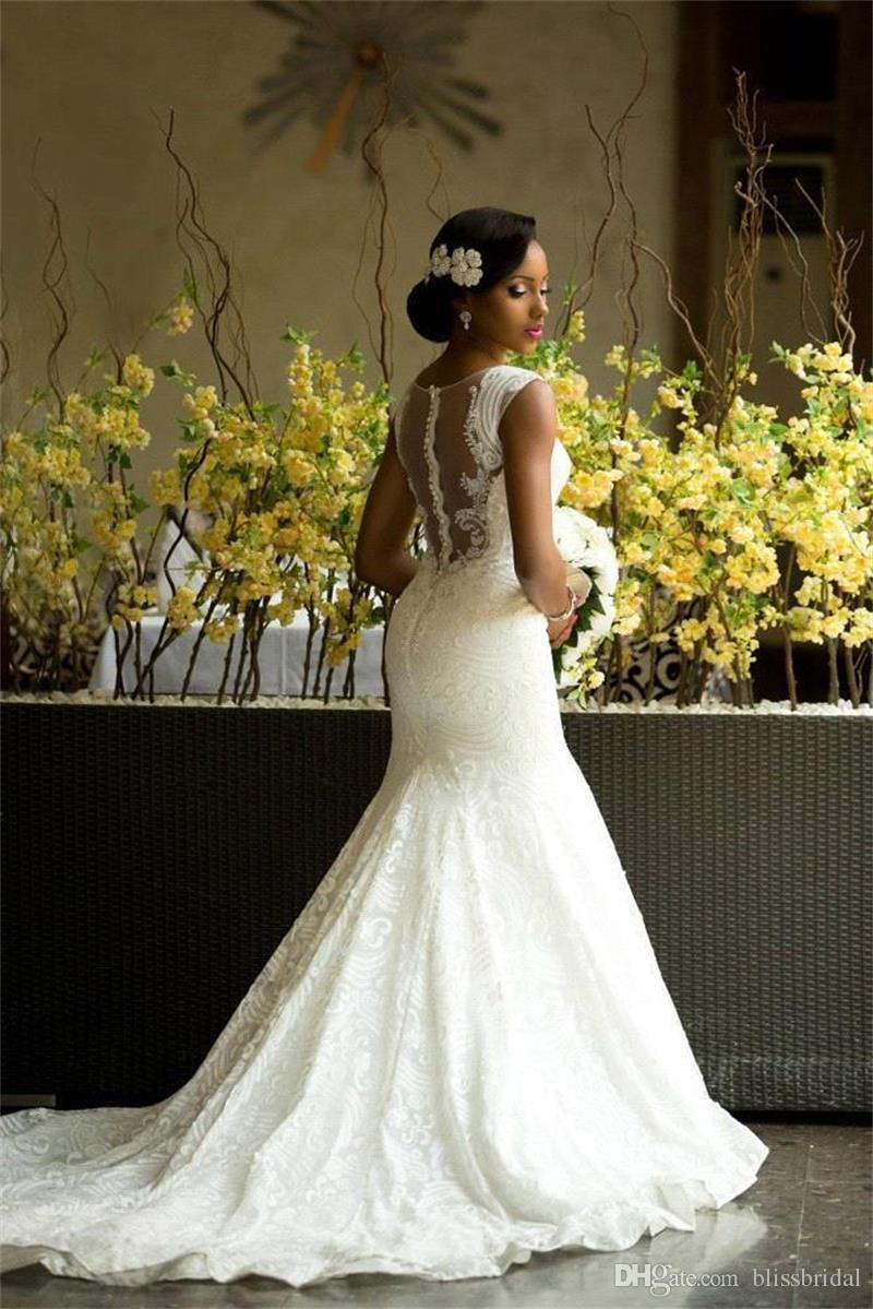 2019 Garden Wedding Dresses Mermaid Illusion Neckline Bridal Gowns Nigerian Lace Covered Button Back Long African/Aso Ebi Wedding Gown