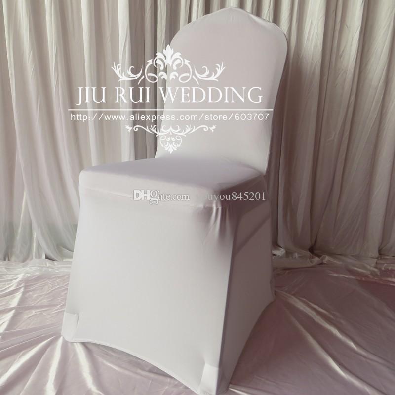 Wit geplooid / gegolfd terug spandex lycra banket stoel cover 100 stks veel voor bruiloft hotel decoratie