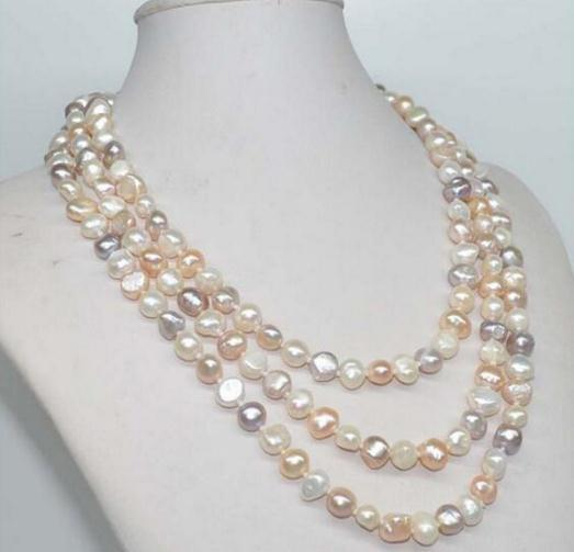 1cb72c0f2 2019 47inch Pearl Necklace 8 9mm White Pink Purple Mixed Baroque Natural Freshwater  Pearl 925 Silver Clasp From Linlin63450, $16.99 | DHgate.Com