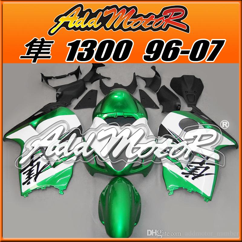 Best Selling Fairings Addmotor Injection Mold Plastic For Suzuki GSXR1300 Hayabusa 96-07 Green White S3644 +5 Free Gifts Best Chioce