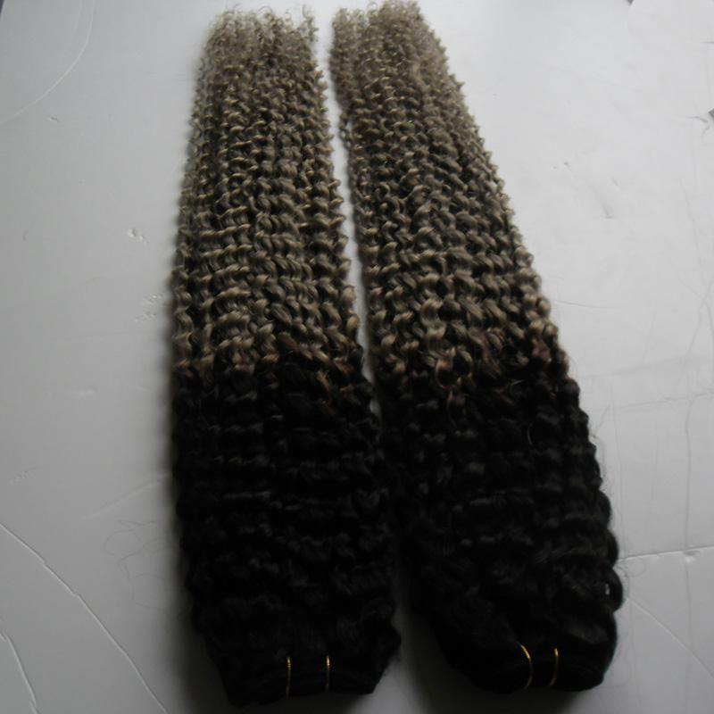 Brésilien Crépus Bouclés Cheveux Argent Gris Ombre Cheveux Humains Deux Tons Ombre Brésilien Gris Weave Afro Crépus Bouclés Vierge Cheveux