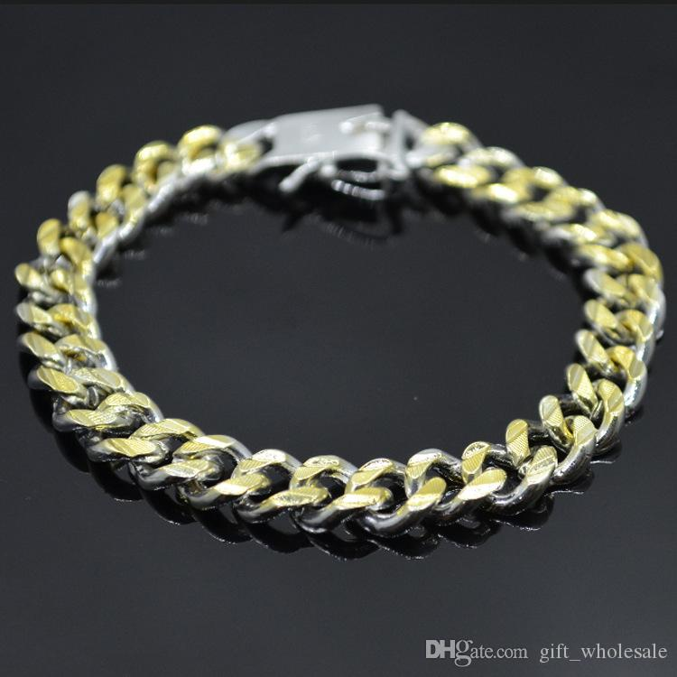 925 silver plated Figaro chain bracelet Golden Silver fashion jewelry for men for choices
