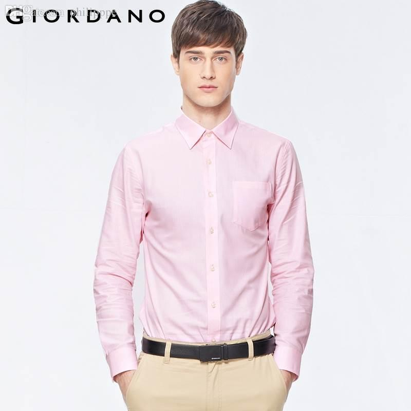 2017 Wholesale Giordano Men Shirt Long Sleeves Office Dobby ...