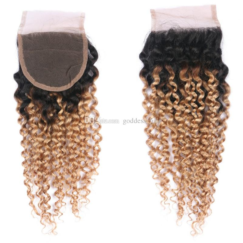 Honey Blonde Ombre Kinky Curly Hair Bundles With Lace Closure 1B 27 Hair Bundles With Kinky Curly Closure Free Part For Woman