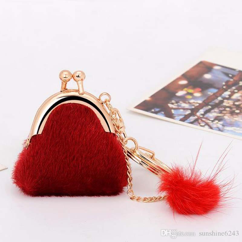 50 قطع 6 ألوان حساسة حقيبة صغيرة المفاتيح حقيقي أرنب فرو الكرة أفخم مفتاح سلسلة ل مفتاح السيارة سلاسل حقيبة قلادة الحلي سيارة