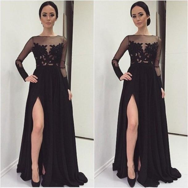 Semi Formal Black Dresses Lace Applique Long Sleeves Splits Side