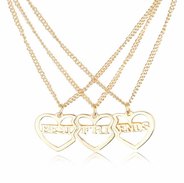 Wholesale best friends girlfriends hot three piece heart shaped wholesale best friends girlfriends hot three piece heart shaped necklace pendant 2016 new european and american popular jewelry alloy new glass pendant aloadofball Image collections
