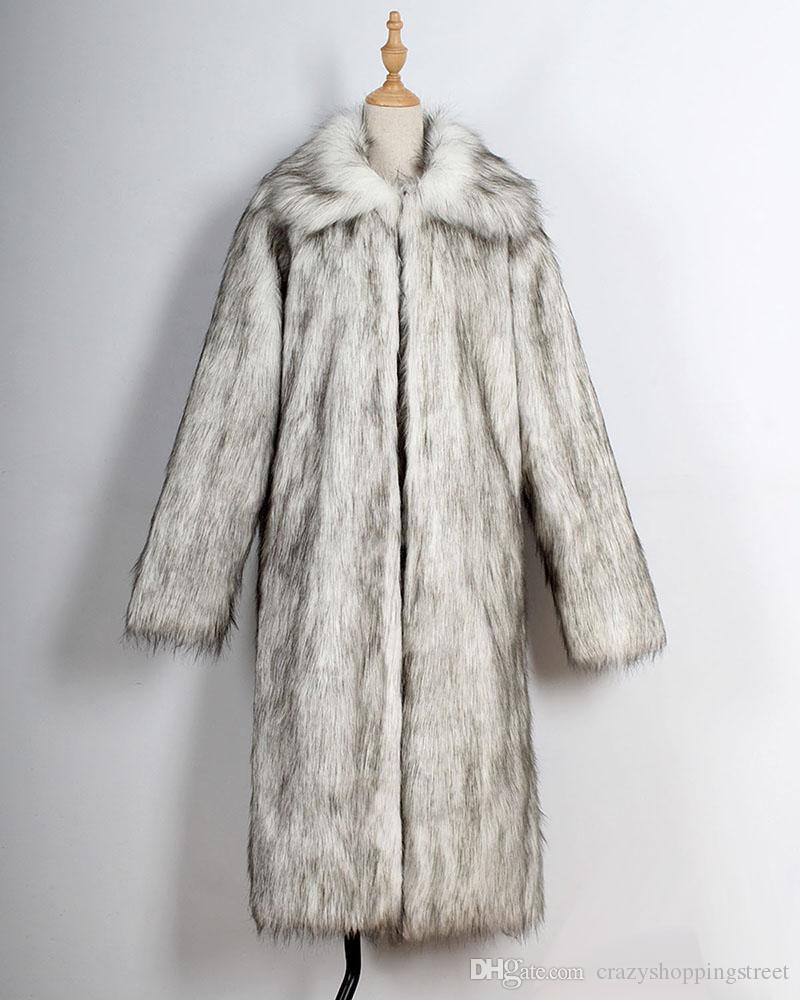 Fresca capa de los hombres de piel falsa Abrigo largo de Calidad imitado ropa de alta larga de la piel de la solapa de la calle del invierno del cuello de la manga