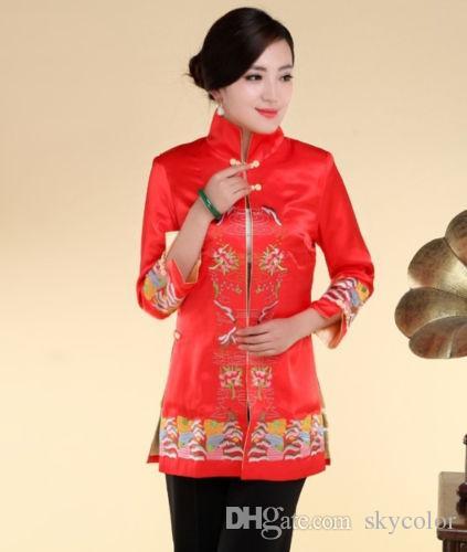 Veste de soie brodée chinoise traditionnelle pour femme Taille Cheongsam 6 8 10 12 14 16 18 Rouge Blanc Noir