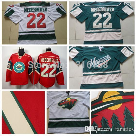 outlet store 90d10 33473 2016 New #22 Nino Niederreiter Jersey Cheap Minnesota Wild Jerseys Team  Green White Red Ice Hockey Jerseys New Meterial High Quality