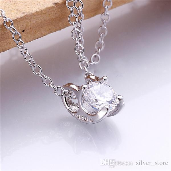 Hot sale brand new 24k 18k rose gold Pack drill Pendant Necklaces jewelry GN801-B fashion gemstone zircon necklace