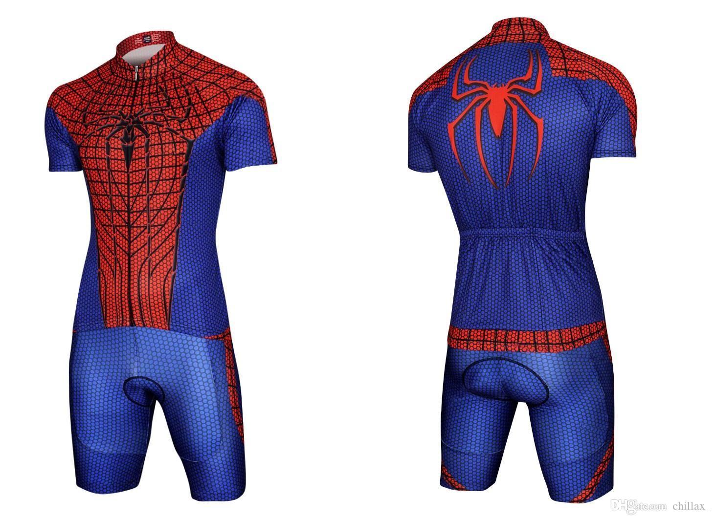 Maglia da ciclismo uomo all'ingrosso imposta abiti da bici economici l'estate Batman Superman Iron Man Spider-man Capitan America Bicicletta Tuta da bicicletta