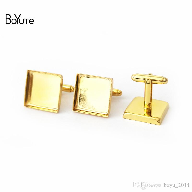 BoYuTe Plated 16 MM 18MM 20MM 25MM Square Cufflink Blanks Diy Cufflink Base Setting Jewelry Findings Components