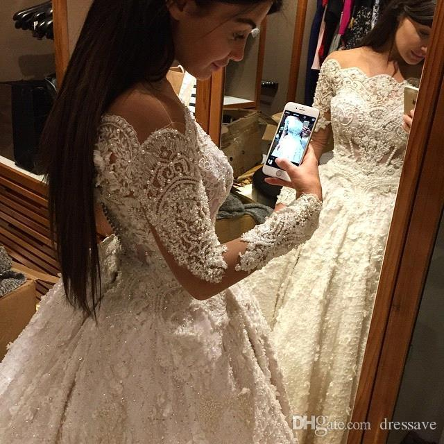 2018 Vintage Ball Gown Wedding Dresses Off Shoulder Long Sleeves Arabic Muslim Islamic Wedding Gowns Lace Appliques Bridal Dress