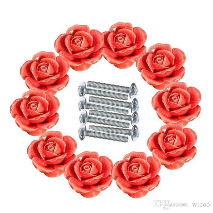 / conjunto de alta qualidade Rose Flor Cerâmica Porta Knob Gabinete do armário de cozinha Pull gaveta Handle Botão Vintage Cupboard Ceramic Handle