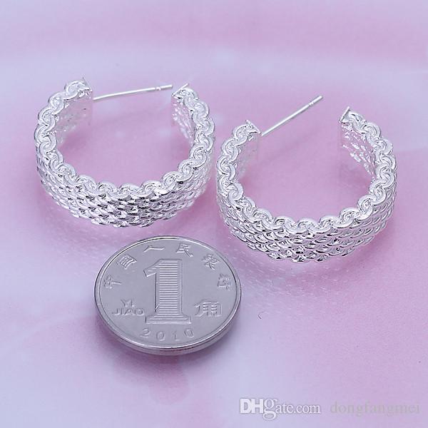 новый сетка стерлингового серебра покрытием ювелирные изделия Ожерелье для женщин DN082, популярные 925 серебряные серьги