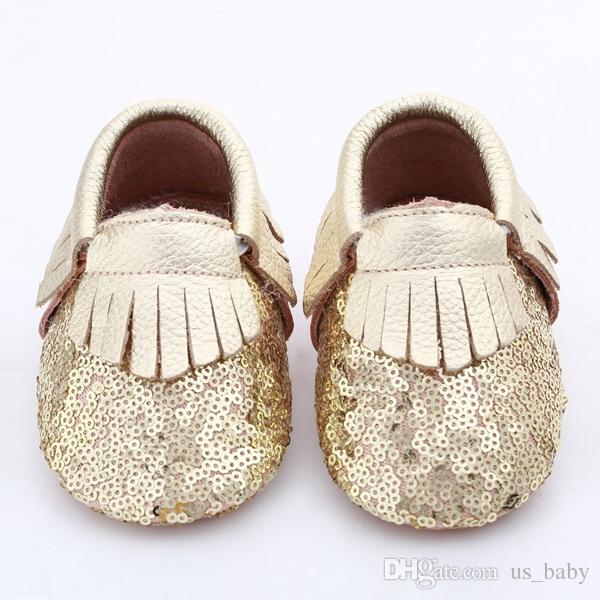 c035f3e522268 28Pairs Baby fringe sequin moccs 10colors choose infant boy girl gold  yellow silver moccasins soft leather moccs toddler booties cute shoes