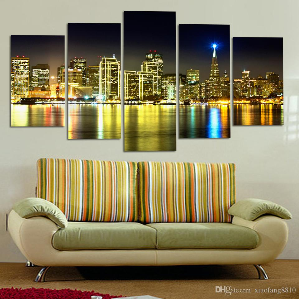 Hot Loved Canvas Dipinti City Building Case sul mare nel migliore scenario Wall Art Home Decoration 5 pezzi No Frame
