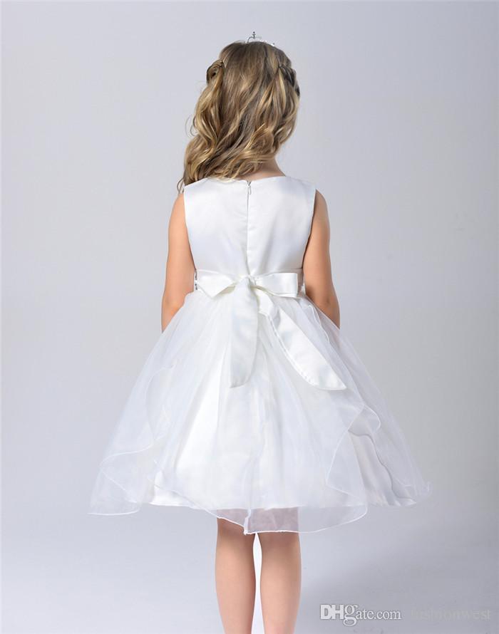 2016 neue Sommermode Blumenmädchen Brautjungfer Baby Prinzessin Festzug Juwel Cap Sleeves Weichen Tüll Nach Maß Party Hochzeit Geburtstag mädchen d