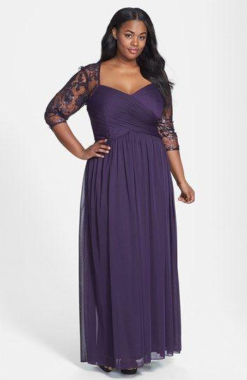 Lace Sleeves Dark Purple Plus Size Special Occasion Dresses 2016 ...