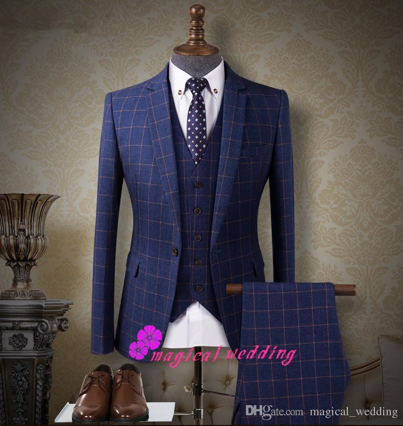 Vintage Royal Blue Black Damier Check Wedding Groom Tuxedos Three ...
