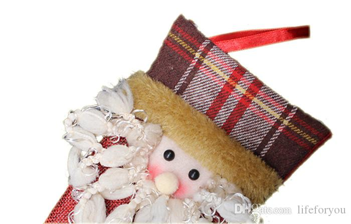 bas de noël chaussettes de cadeau de noël sacs chaussettes de noël bonbons oranments de noël
