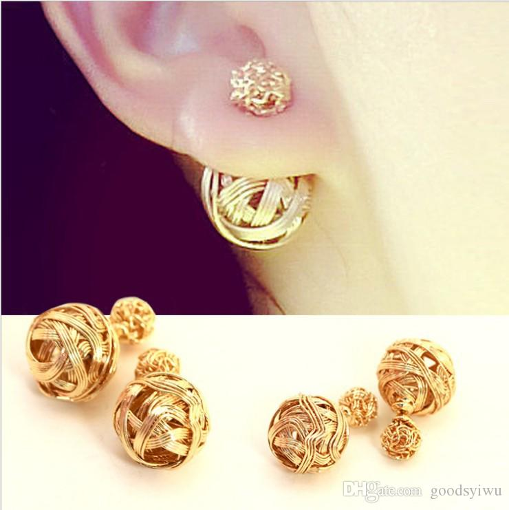 Trendy Bohemian Women Pendientes Hot Selling New Silver gold And Gun Color Double Metal Wire Wrapped Sides Stud Earrings