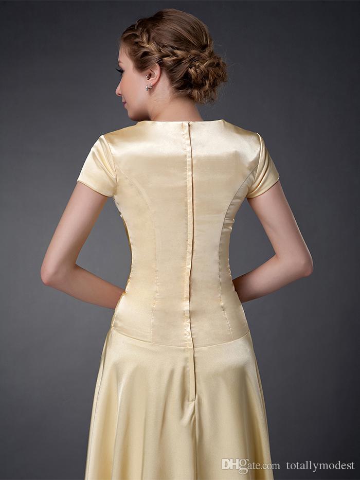 Gelbe Satin A-line lange bescheidene Brautjungfernkleider mit kurzen Ärmeln High Juwel Hals bodenlangen formale Tempel Bräute Maidkleider bescheiden