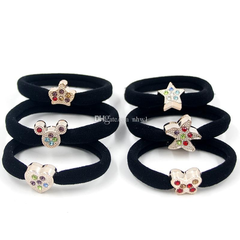 Fashion Girl baby Women alloy Imitation diamond Elastic Hairband Hair Band Rope Scrunchy styling tools accessories