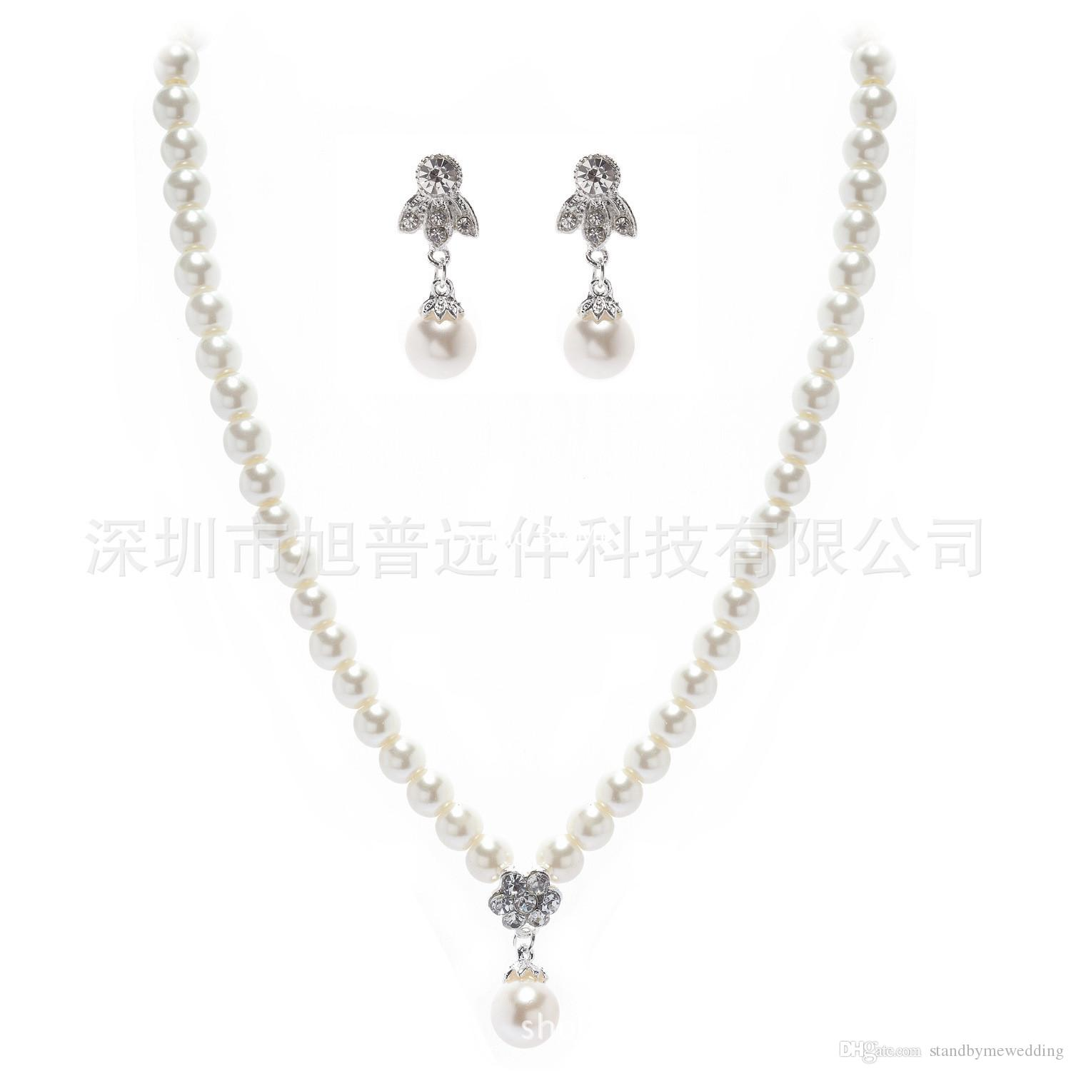 Bling Bridal Jewelry Imitation Pearls Bride Prom Wedding Jewellery