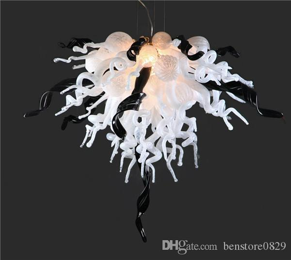 China Factory-outlet White and Black Customized Blown Murano Glass LED Chandelier Modern Art Deco Glass Pendant Lamps for Home Hotel Decor