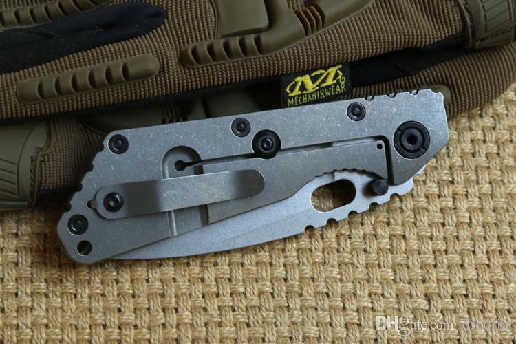 ST SMF Dossier Poignée en titane D2 lame Rondelles en cuivre Couteau pliant en plein air matériel de camping chasse Couteaux tactiques EDC auto-défense Outils