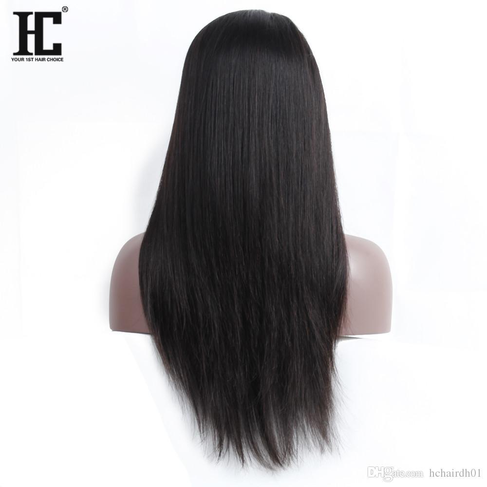 Parrucche dei capelli umani Malesi le parrucche diritte del pizzo 360 di seta malese diritte delle donne nere con le parrucche dei capelli umani del pizzo dei capelli del bambino