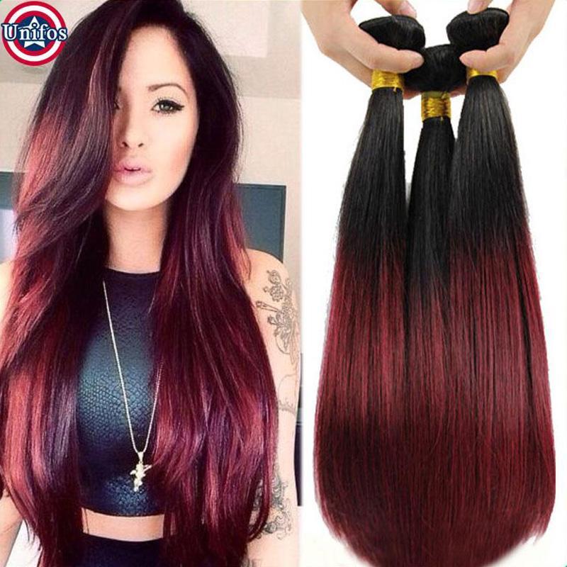 Unifos Ombre Burgundy Brazilian Virgin Straight Human Hair Weave 3