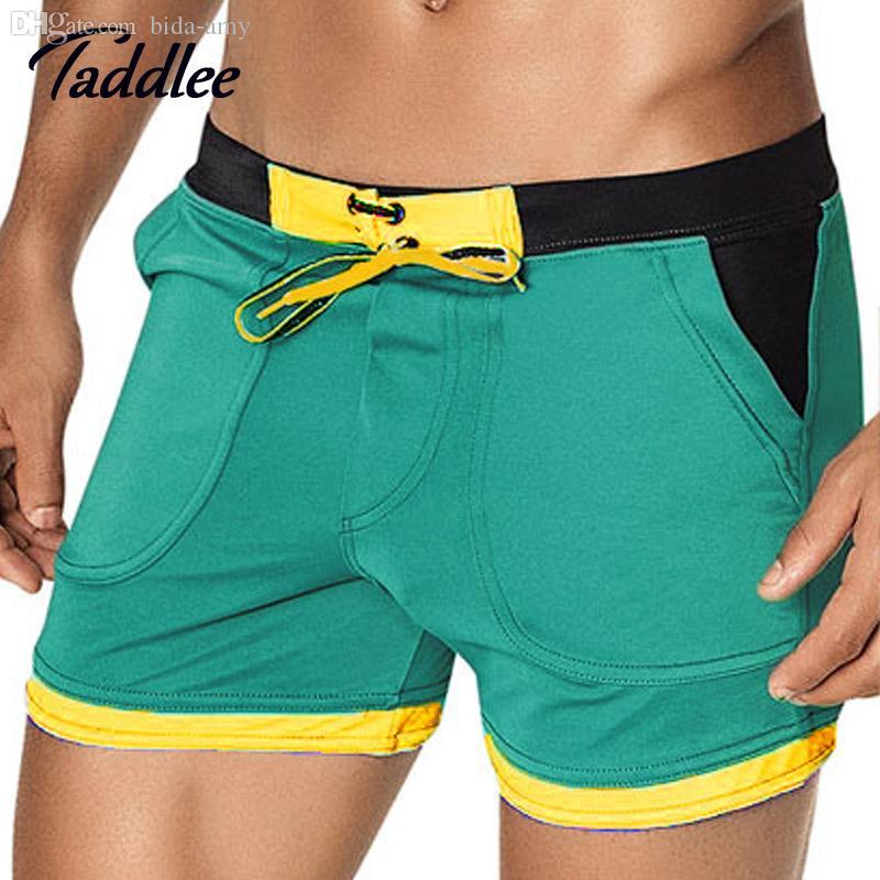 12e5055861f3 Al por mayor-Taddlee marca para hombre traje de baño atractivo Swimsuits  Swim Boxer Board Beach Shorts Trunks trajes de baño Gay hombres Surf ...