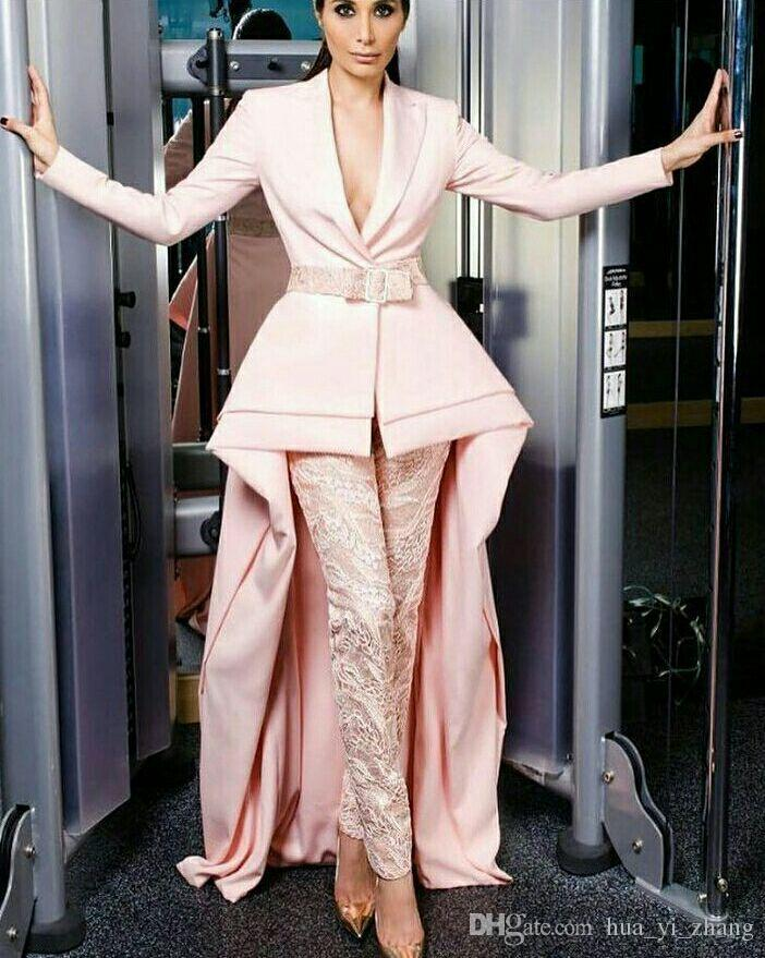 2018 New Fashion Prom Dresses Suit Skirt with Lace Pants Pink Special Long Sleeves Two Pieces Real Photos Evening Formal Gowns