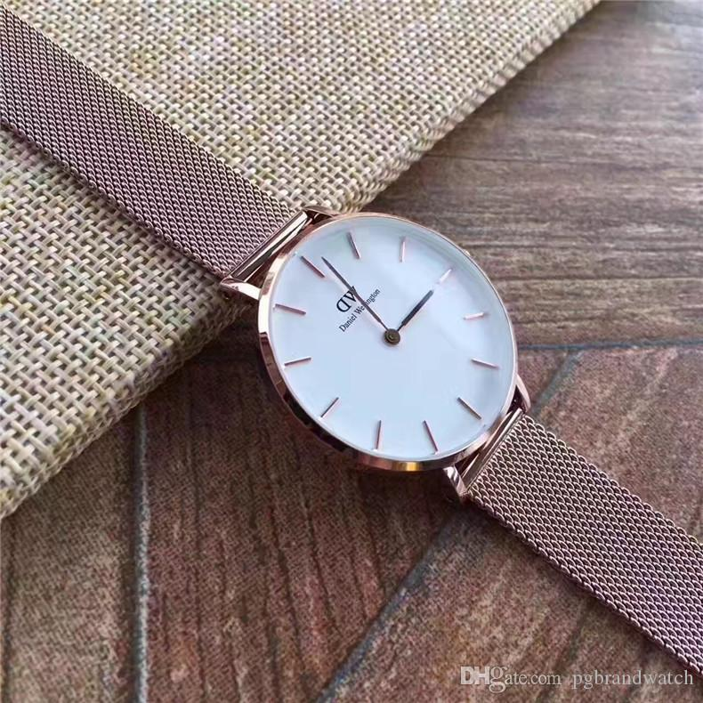 New Fashion Girls Banda de acero de cuero D- Relojes de Wellington Relojes de 32 mm para mujer Reloj de cuarzo D-W de lujo Relogio Feminino Montre Femme