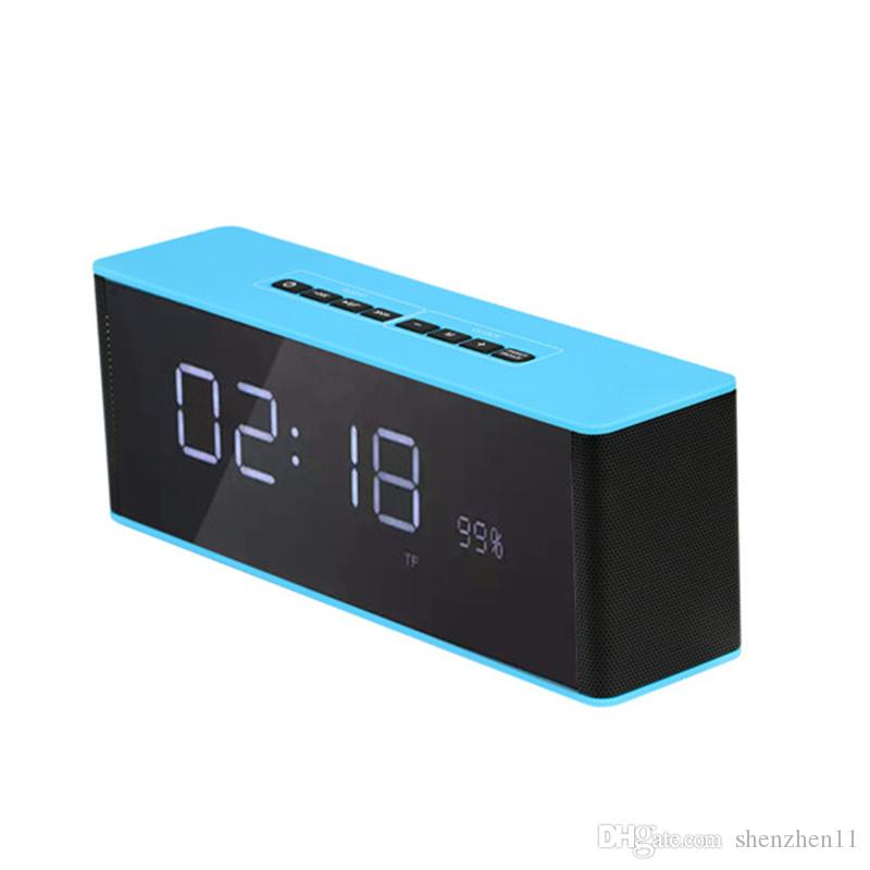 LP-06 Portable Bluetooth & Clock Speaker Receiver Multifunctional Super Bass Wireless Speakers Support TF FM Alarm Clock DHL free MIS511