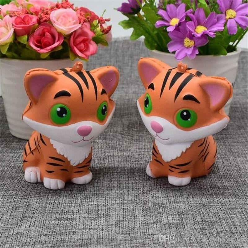 Mobile Phone Accessories Slow Rising Kawaii Tiger Squeeze Jumbo Squishy Bread Soft Scented Cake Toys Doll Gift Super Animal Phone Straps