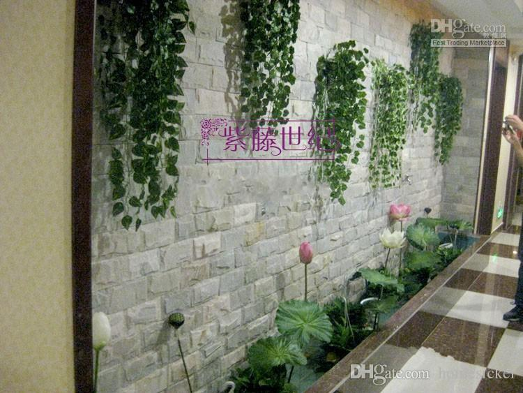 210cm Length Artificial Silk Plastic Simulation Climbing Vines Green Leaf Ivy Rattan for Home Decor Bar Restaurant Decoration