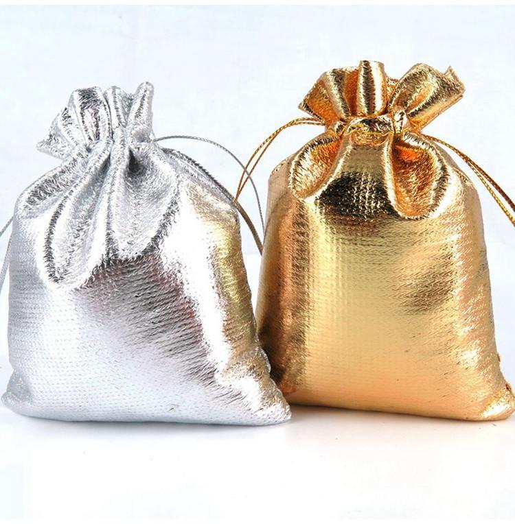 4 tamanhos de moda banhado a ouro de gaze de cetim jóias sacos de presente de natal bolsas de presente de casamento saco 6x9 cm 7x9 cm 9x12 cm 13x18 cm