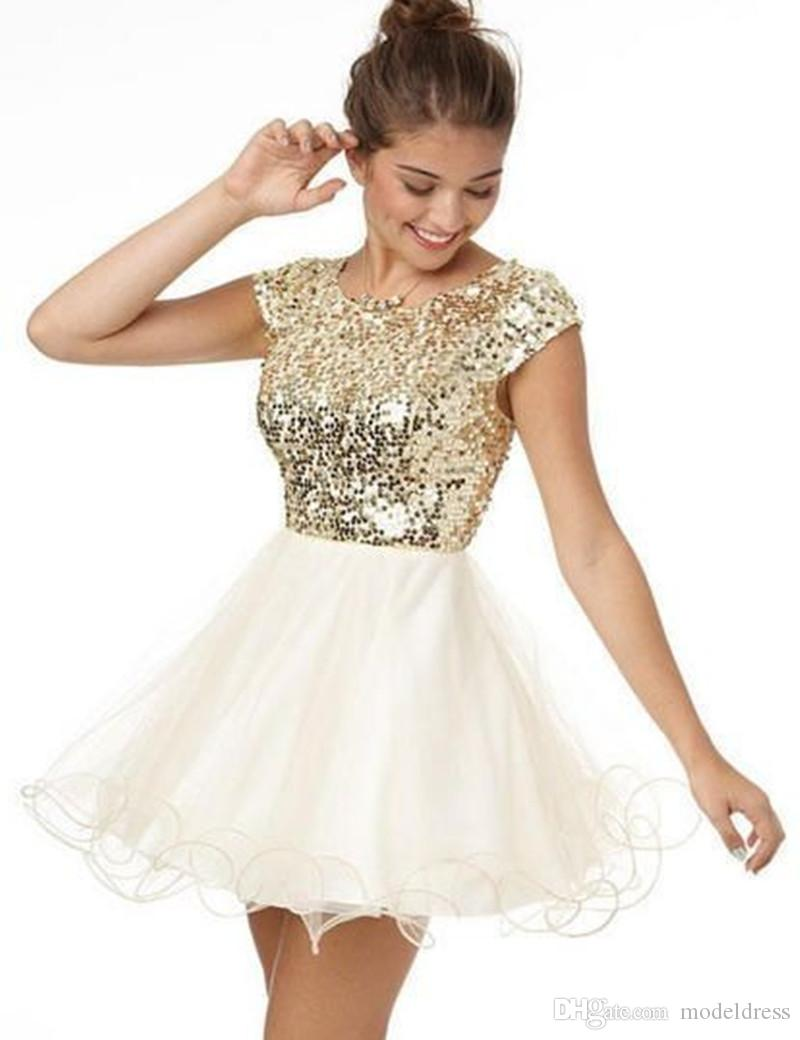 Nueva lentejuelas de oro Bling vestidos de fiesta 2016 joya escote manga del casquillo una línea de tul corto barato Prom vestidos de cóctel vestido de regreso a casa barato