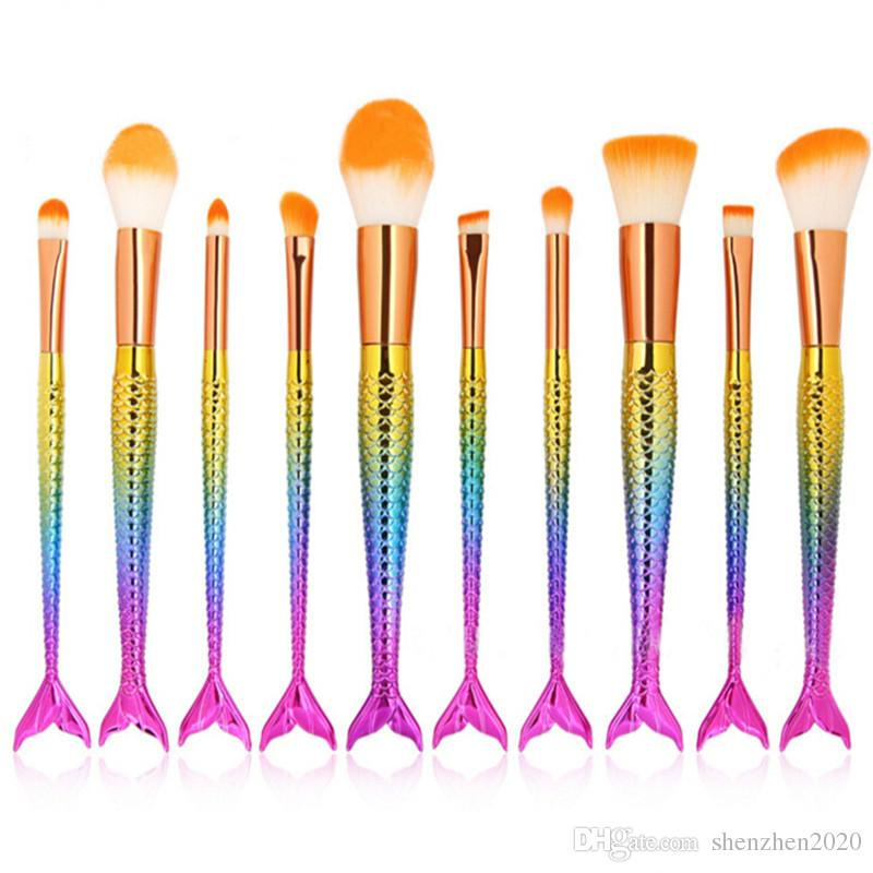 Cepillo de sirena Rainbow Pinceles de maquillaje Set Cream Face Power Brushes Kits Belleza multiuso Rainbow Kits de cepillo cosmético 2017