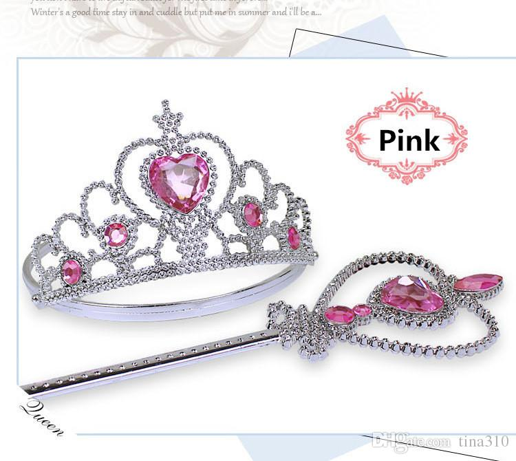 Hot Crown tiara headband set Princess Queen Magic Wand princess cosplay magic wand rhinestone magic wands for kids Crown Hair IB292