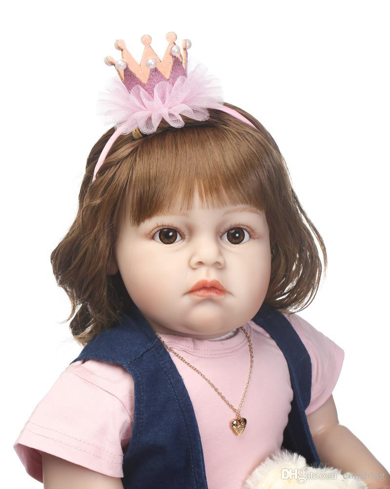 Soft Silicone Realistic Reborn Toddlers Girls Baby Handmade Dolls 28 Inch Babies Kids Toys With Hair