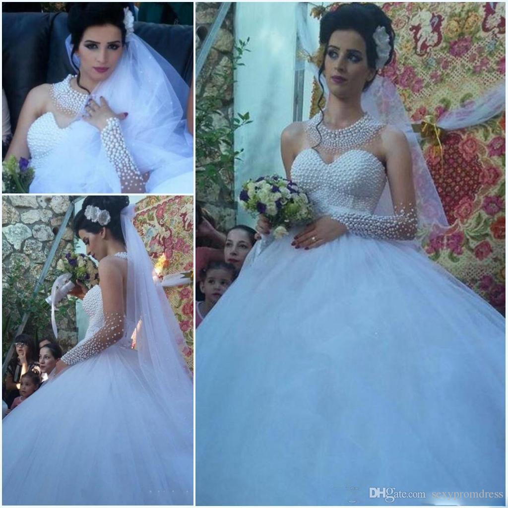 Compre Perlas De Lujo Con Cuentas De Dubai Árabe Vestidos De Novia ...