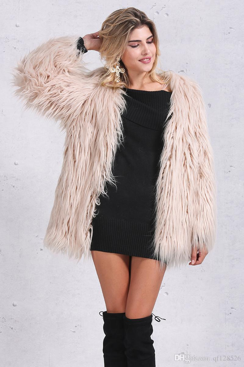 2018 Simplee Elegant Faux Fur Coat Women Fluffy Warm Long Sleeve ...