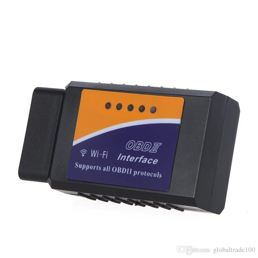 ELM327 WIFI / Bluetooth V1.5 OBD II Wi-Fi ELM 327 Herramienta de diagnóstico del coche Escáner OBD Escáner de interfaz OBD2 Al por mayor / DHL libre