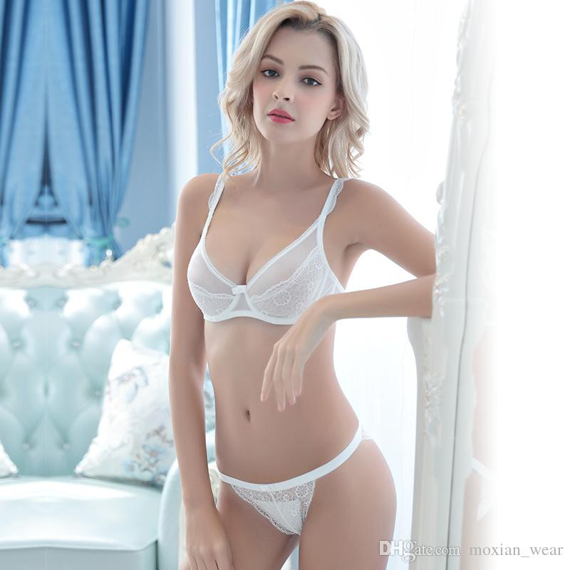 296c84d16 2019 Autumn Sexy Bra Comfortable Breathable Fixed Shoulder Strap Underwear  Suit Lace Charming Ultra Thin Transparent Lady Bra Set TZ34609032 W From ...