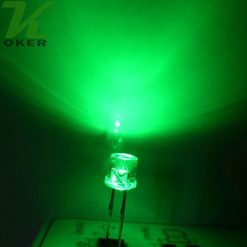 5mm Verde Top Flat Top Water Clear LED Light Light Light Emitting Diodo Ultra Bright Plug-in Plug-in Kit fai da te Pratica grandangolare